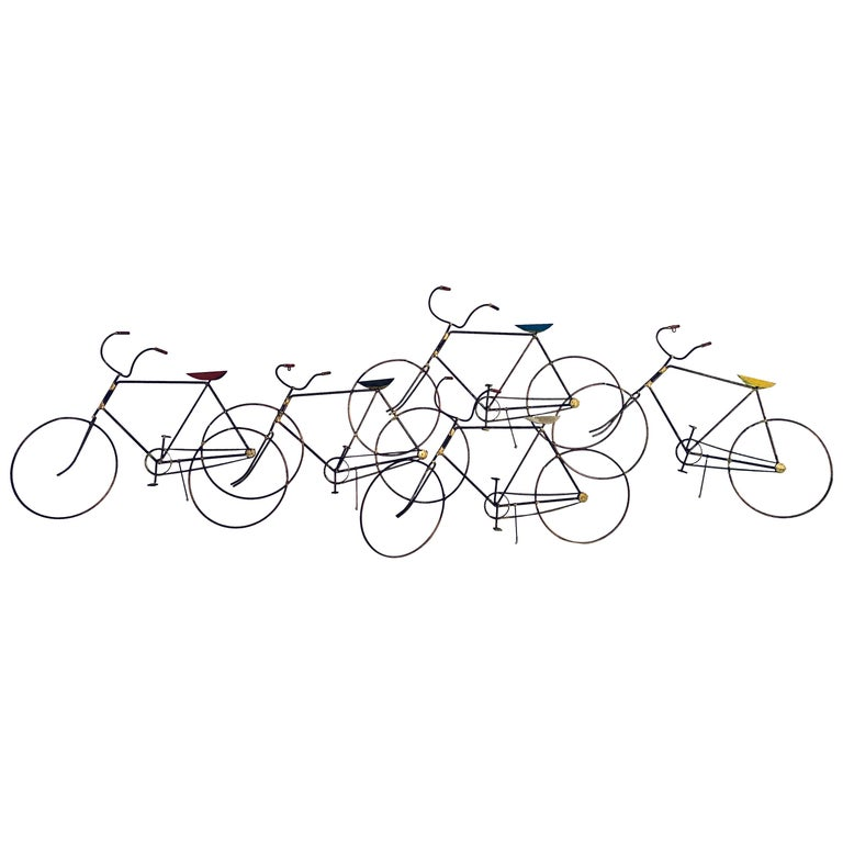 Signed Curtis Jere Wall Sculpture of a Group of Bicycles