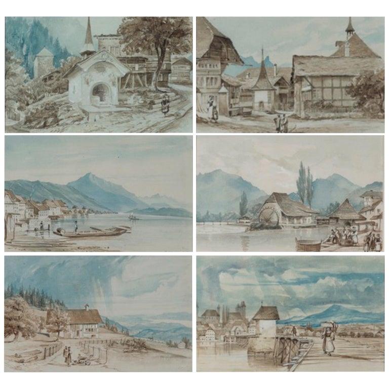19th Century Set of Six Watercolors Depicting Views of Switzerland