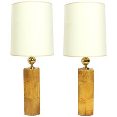 Pair of Chic Goatskin Lamps by Aldo Tura