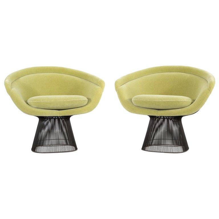 Set of Mid-Century Modern Bronze Warren Platner Lounge Chairs for Knoll