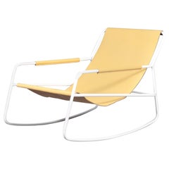 Rocking Chair in Steel Frame and Sling Leather