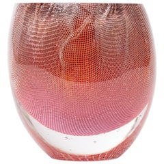 Glass and Copper Mesh Vase by Omer Arbel For OAO Works, Bubblegum Pink