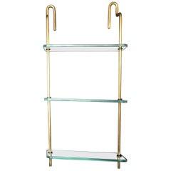 Mid-Century Modern Italian Brass and Glass Hanging Shelves