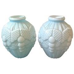 Pair of Art Deco French Light Blue Opaline Vases, circa 1930