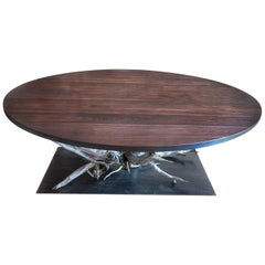 Large Round Walnut and Steel Dining Table