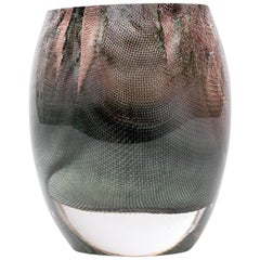 Glass and Copper Mesh Vase by Omer Arbel for OAO Works, Dark Green Grey