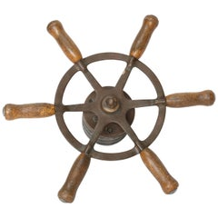 Vintage Brass and Iron Ship Wheel