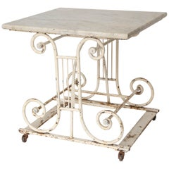 18th Century Marble and Iron French Butcher Table