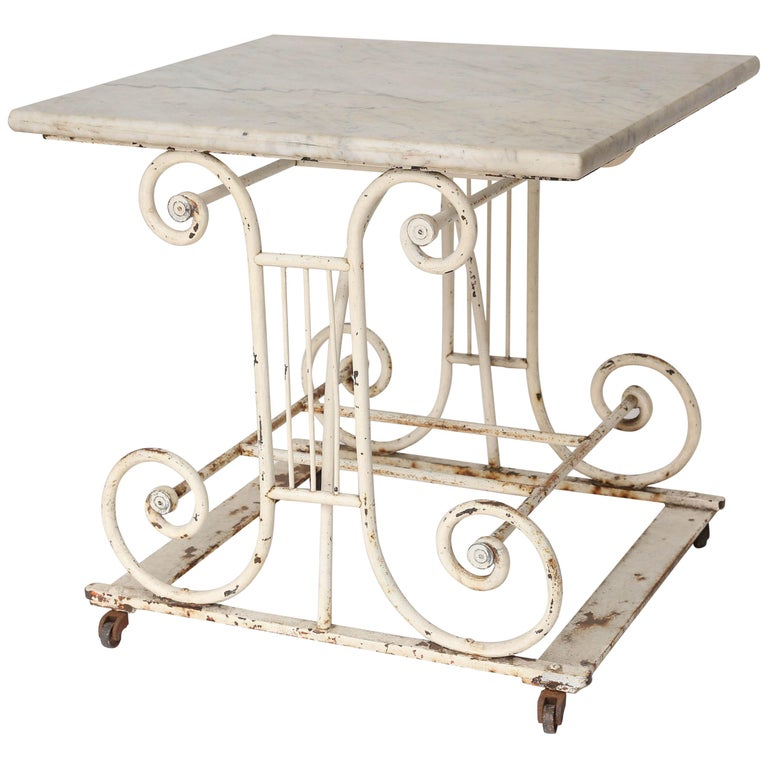 18th Century Marble and Iron French Butcher Table For Sale
