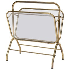 Brass and Glass Midcentury Magazine Holder