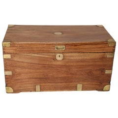 Antique Camphor Wood and Brass Military Campaign Trunk