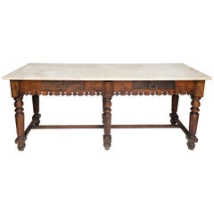 French Marble-Top Oak Butcher Table