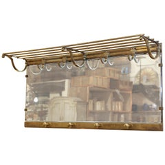 Antique French Brass Bistro Hat and Coat Rack