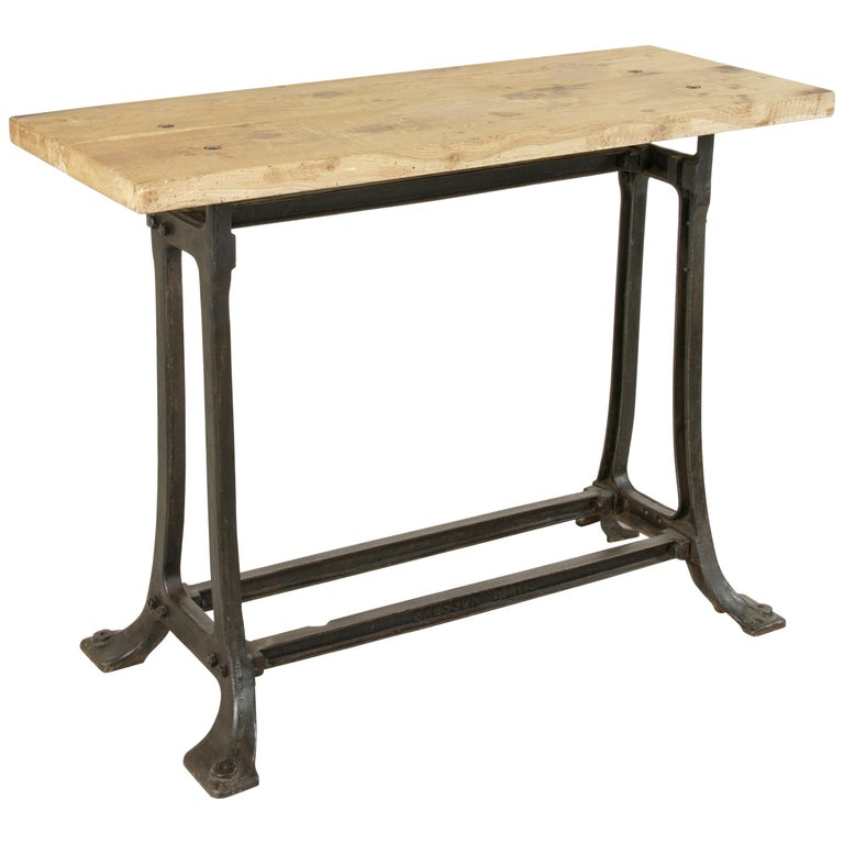 Midcentury French Industrial Console, Work Table, Kitchen Island, Iron Base For Sale