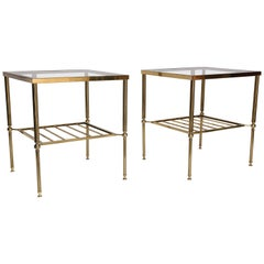Midcentury Brass and Glass Two-Tier Table