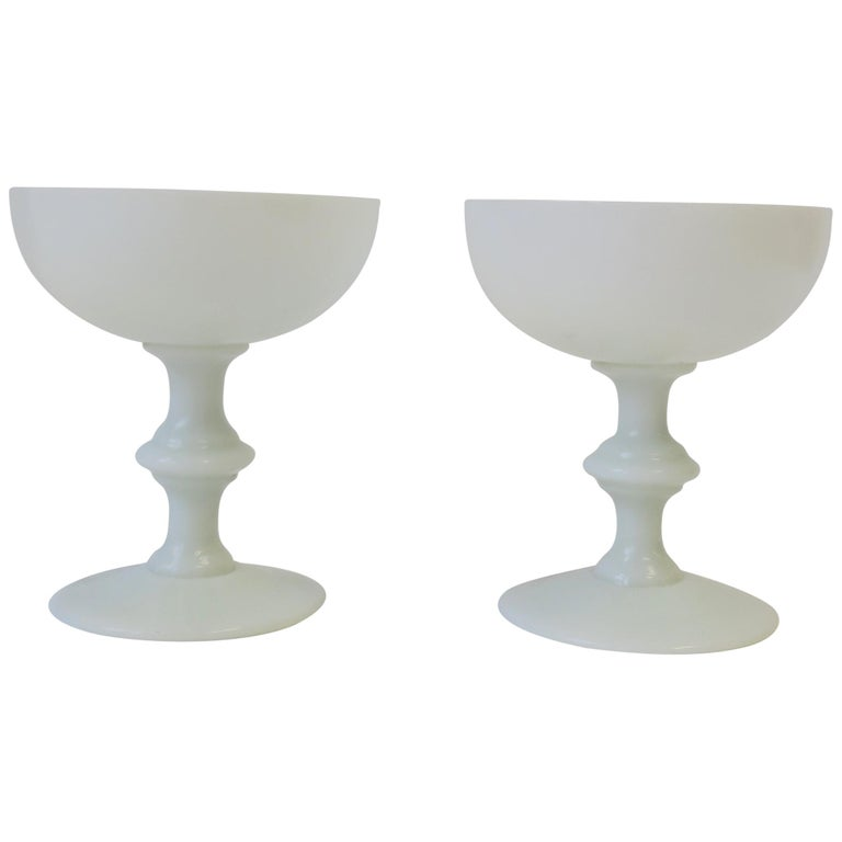 Pair of French White Opaline Champagne Glasses by Portieux Vallerysthal For Sale