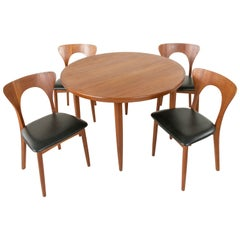 Midcentury Danish Round Teak Table and Four Chairs by Niels Koefoed, Hornslet