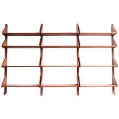 Danish Teak Wall Mount Shelving Unit