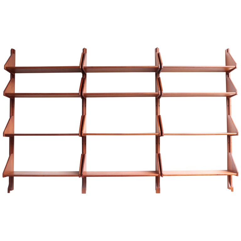 Danish Teak Wall Mount Shelving Unit For Sale
