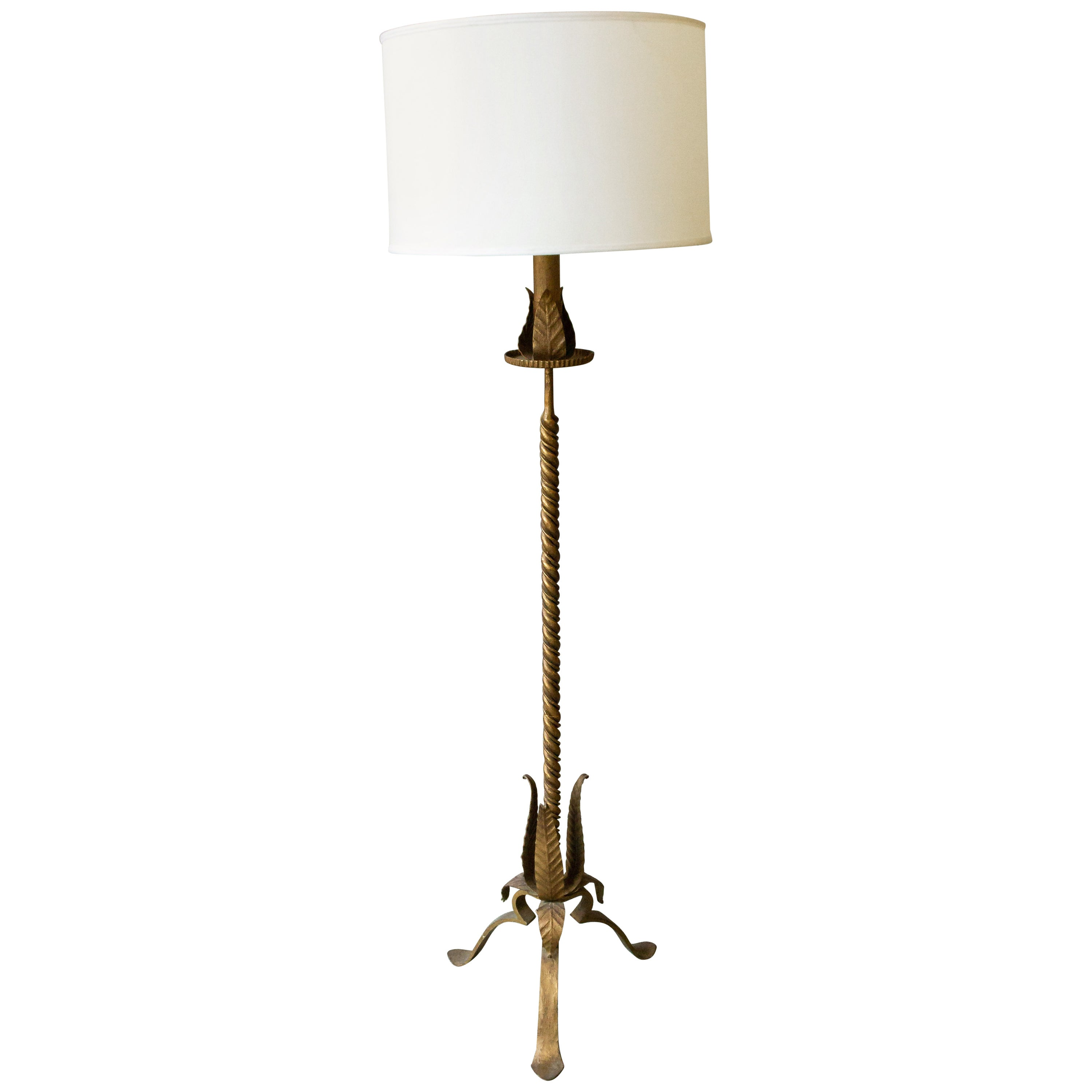 Large Gilt Iron Floor Lamp with Bold Leaf Detail