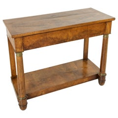 Early 19th Century, French Empire Period Burl Walnut Console Table with Drawer