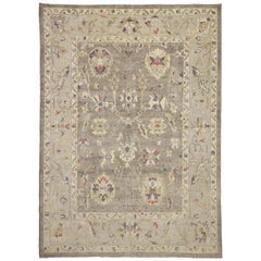 Rustic Farmhouse Style Turkish Oushak Area Rug with Large Geometric Pattern