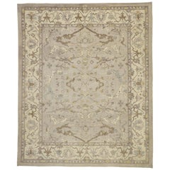 New Turkish Oushak Area Rug with Light, Neutral Colors