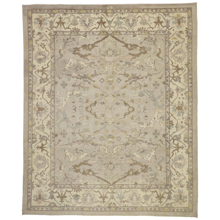 Turkish Oushak Neutral Colors Rug At 1stdibs