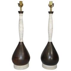 Pair of Midcentury Marble and Mahogany Table Lamps with Teardrop Shaped Base