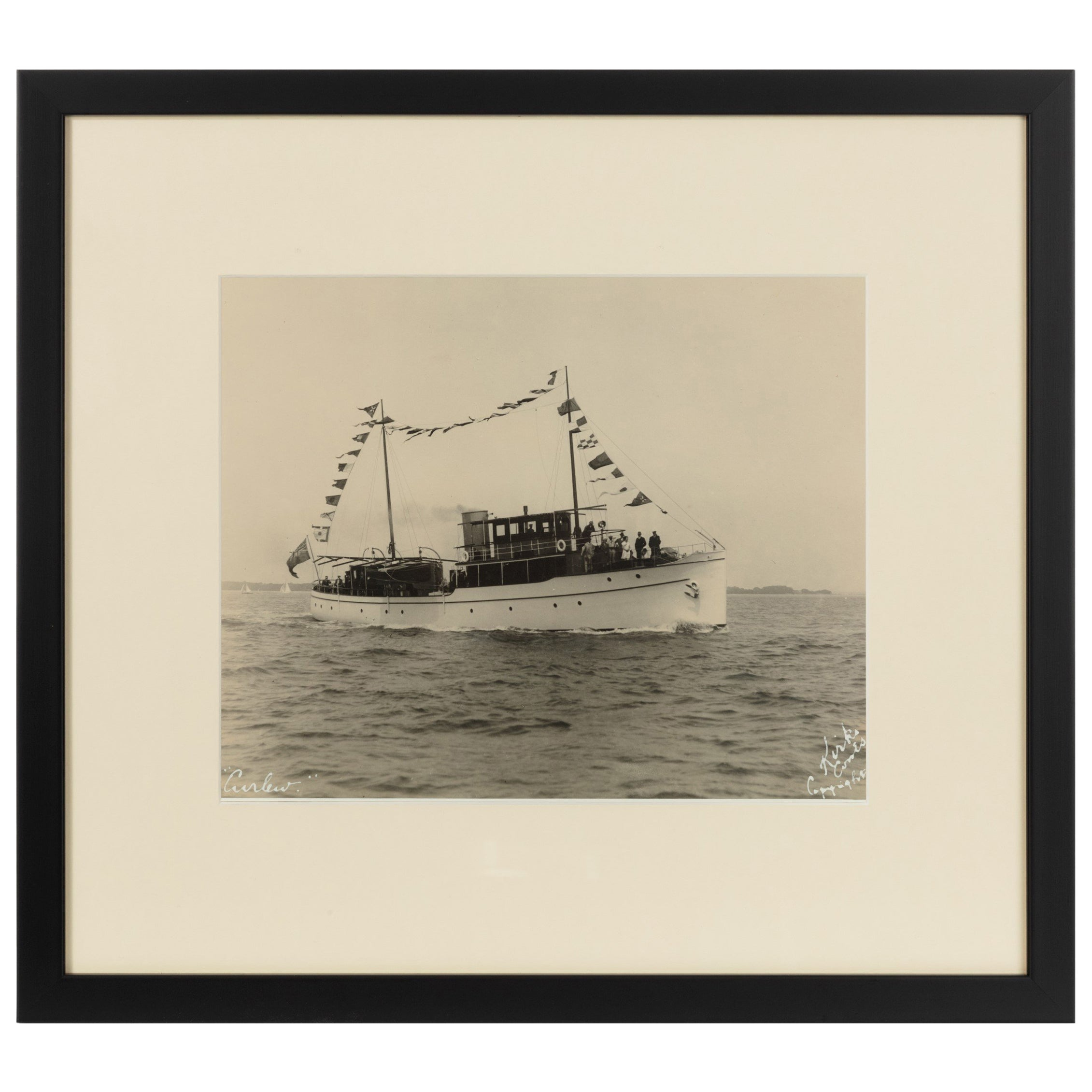 Early Silver Gelatin Photographic Print of the Sailing Yacht Curlew