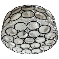Large German Iron and Glass Ceiling or Wall Light Flush Mount by Limburg, 1960s