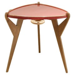 French Red Lacquered Guéridon Reconstruction Period Side Table