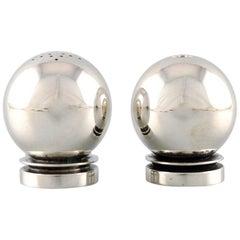 "Georg Jensen ""Pyramid"" Art Deco Salt & Pepper Set in Sterling Silver"