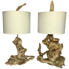 Mid-Century Modern Sculptural Driftwood Table Lamps in Gesso