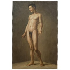 Oil on Canvas Nude Portrait of Standing Male by Richard Biset, circa 1980