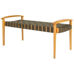 American-Made Maple Bench with Woven Seat by Tom Ghilarducci