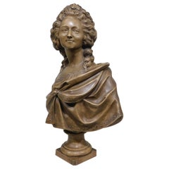 After Augustin Pajou, French, Large Terracotta Bust