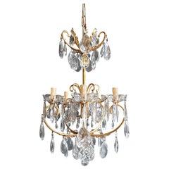 Brass Cage Crystal Chandelier Antique Ceiling Lamp Lustre Art Nouveau