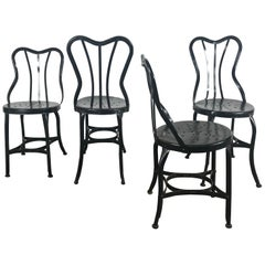 Set of 4 Classic Industrial Metal Side Chairs by Ohio Steel