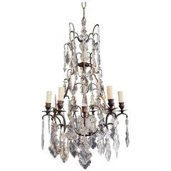 French Crystal Chandelier Antique Ceiling Lamp Lustre Art Nouveau Lamp