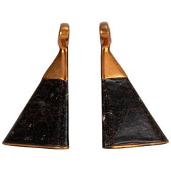 Copper and Leather Bookends by Ben Seibel for Raymor