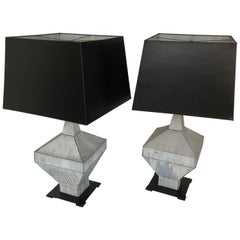 Pair of 19th Century Zinc Finial Table Lamps