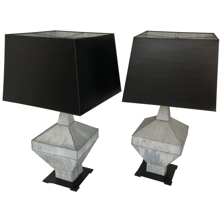 Pair of 19th Century Zinc Finial Table Lamps For Sale