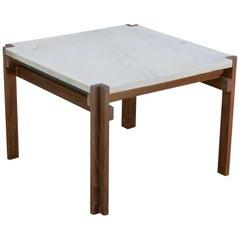 1950s Carrara Marble and Teak Geometric Side Table like Fabricius Kastholm