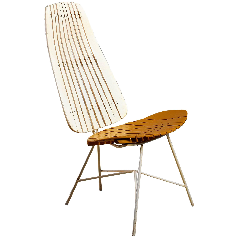 Duo-Tone Slat Lounge Chair by Arthur Umanoff, USA, 1950s