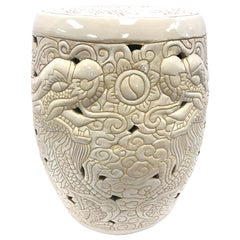 Chinese White Porcelain Dragon Garden Stool Seat