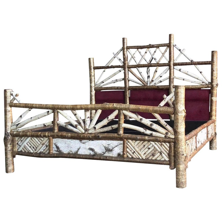 Bespoke Adirondack Beechwood Rustic King Bed by Peter Winter, 1998