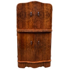 Art Deco 1930s Walnut Serpentine Fronted Cocktail Drinks Dry Bar
