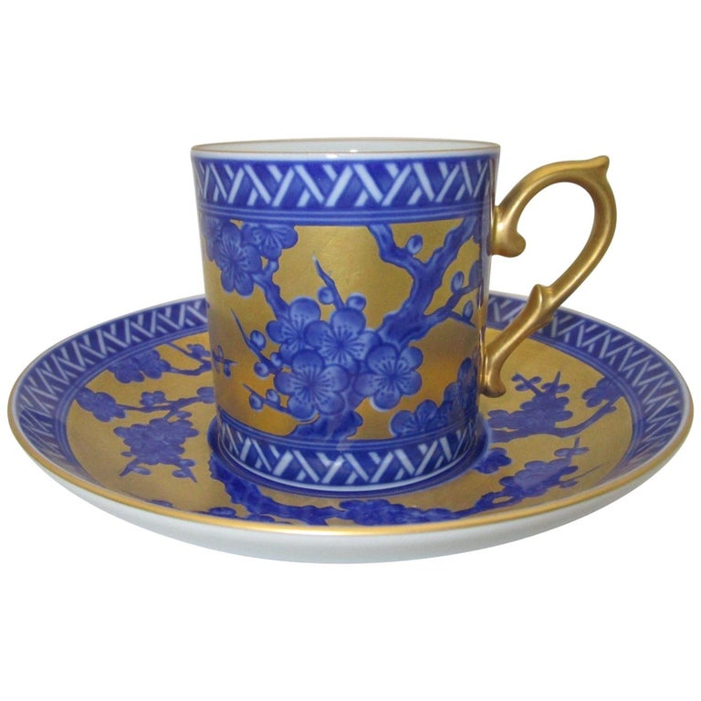 Contemporary Gilded Ko-Imari Porcelain Cup and Saucer Hand-Painted