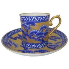 Contemporary Gilded Hand Painted Blue Porcelain Cup and Saucer